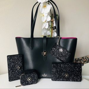 Kate Spade Kaci Medium Tote 5pc glitter set NWT